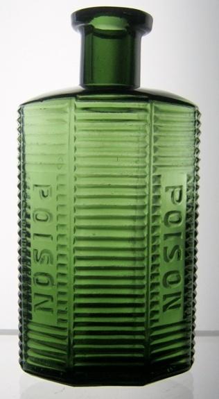 Green glass Poison Bottle http://www.mikesbottles.net/images/6%20sided%20poison.JPG