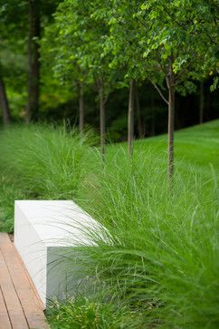 The reduced style is softened by ornamental grasses