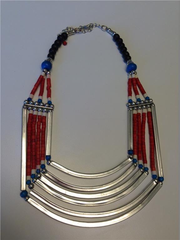Indiska halsband bohem silver rött och blått statement på Tradera.