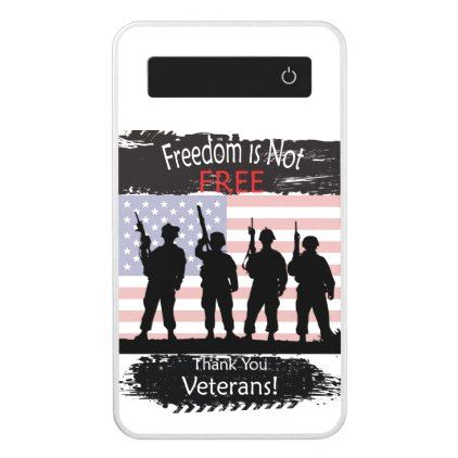 Freedom is Not Free - Thank you Veterans Power Bank - veterans day us patriot holiday usa vets