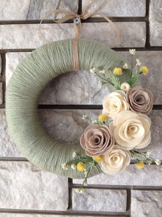 Yarn Wreath Handmade Felt Decoration 12 Sage Green by SasiRose