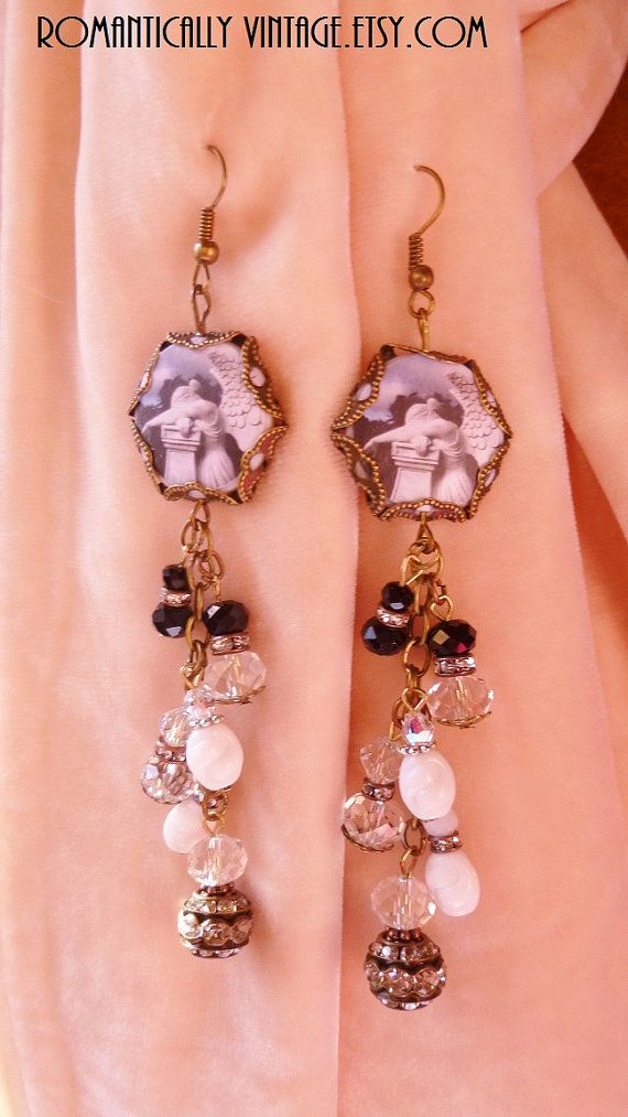Weeping Angel Earrings Beaded Charms by RomanticallyVintage, $69.50