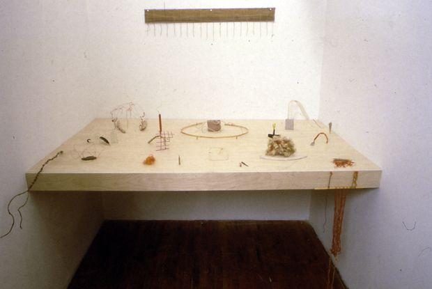 """Cecilia Vicuña, """"cloud-net"""" (poet's table)"""