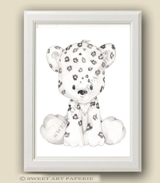 Baby Snow Leopard  Safari Nursery Art  Nursery by SweetArtPaperie