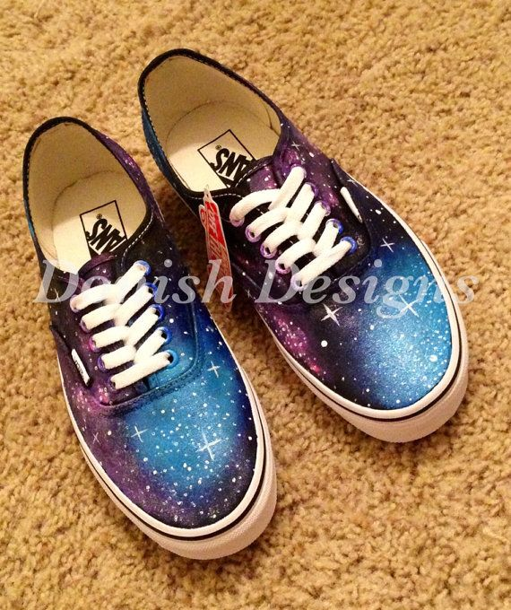 Custom Painted Galaxy Vans Shoe on Etsy, $100.00