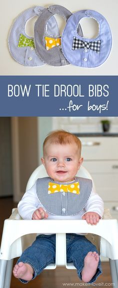 DIY Bow Tie Drool Bib...for BOYS! (from a Men's shirt)   via Make It and Love It