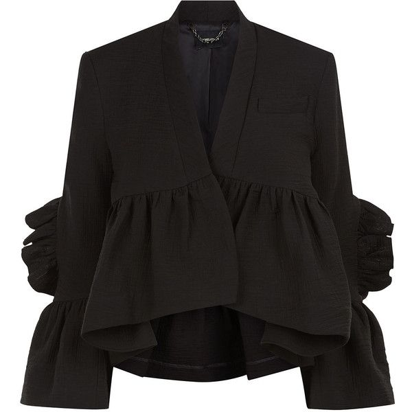 Rachel Comey Black Frill Peplum Frida Jacket (£470) ❤ liked on Polyvore featuring outerwear, jackets, fleece-lined jackets, cropped jacket, polka dot jacket, rachel comey and cotton lined jacket