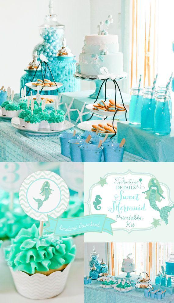 INSTANT DOWNLOAD Mermaid Printable Birthday Party Kit & Invitation