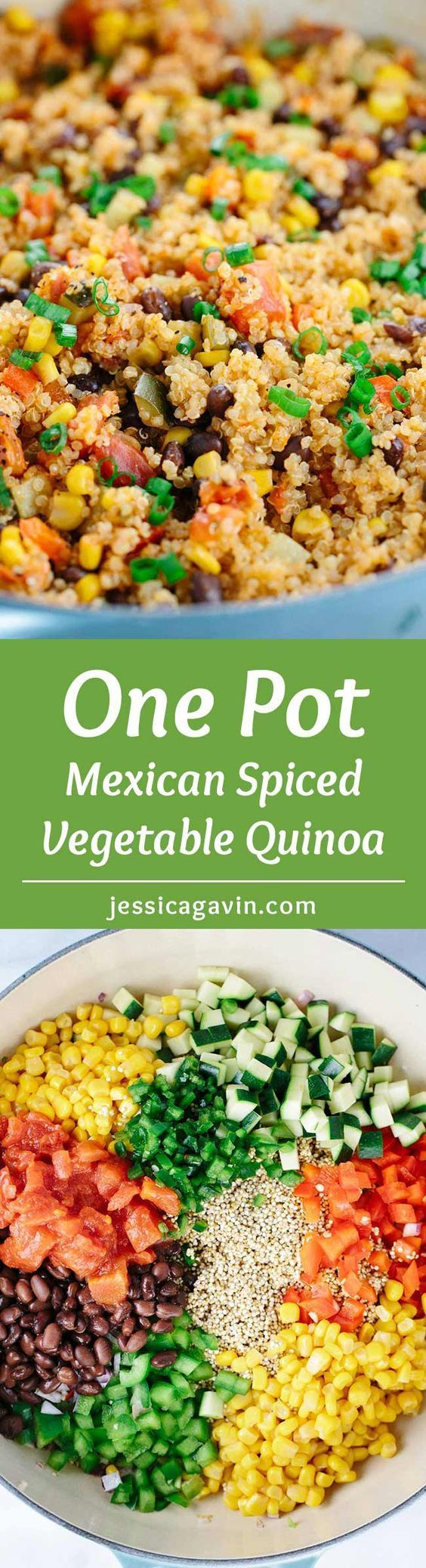 One Pot Mexican Spiced Vegetable Quinoa - This recipe is loaded with bold flavors and healthy ingredients like protein, fiber, and vegetables in each delicious spoonful. | http://jessicagavin.com