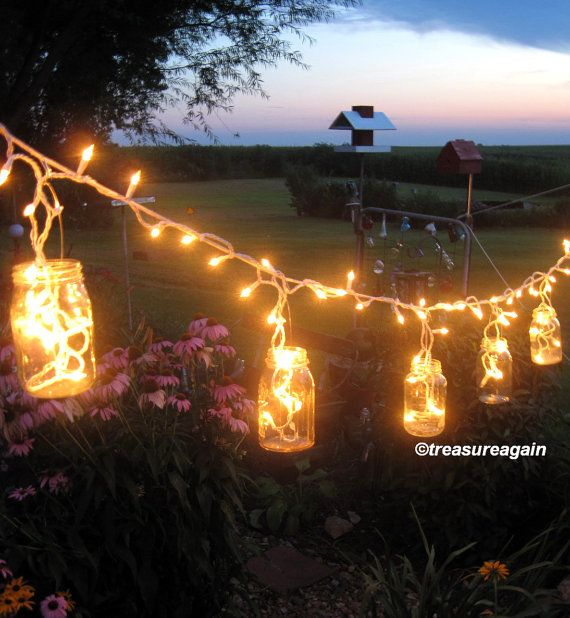 Mason Jar Party Lights 6 DIY Lantern Hangers for Wedding, Patio, or Garden, Mason Jar Hangers. Does not include jars. Etsy.com Or DIY with strands of white lights & bunch them up in the jars then continue repeating this process till the area is covered