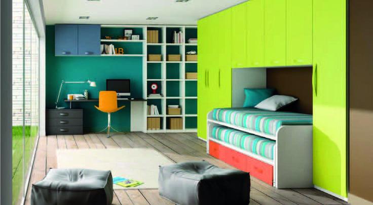 Dormitorio con colores vivos de slango dormitorios - Colores de habitaciones juveniles ...