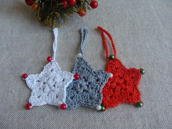 Christmas Stars with Beads, Christmas Ornaments, Christmas Decorations, Christmas Tree Decoration, Crochet Star, Ready to ship
