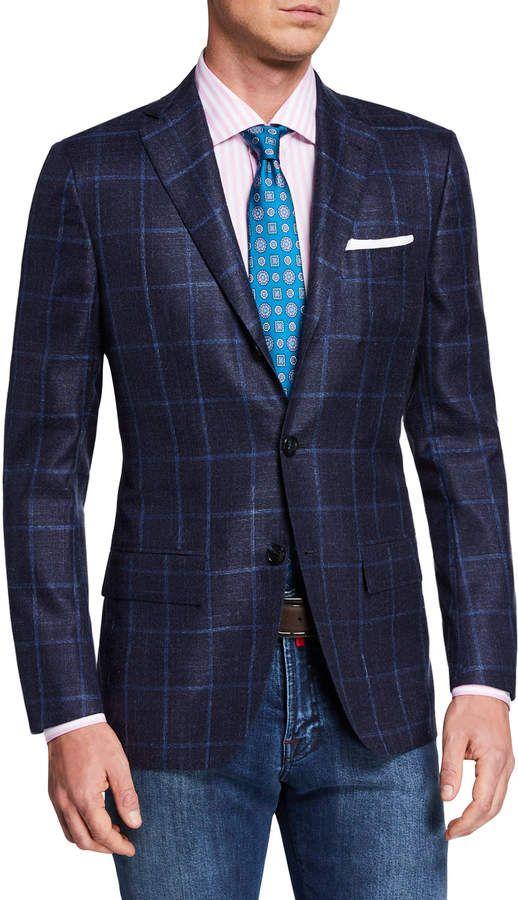 d0d6703aa Kiton Men's Cashmere/Silk Windowpane Sport Coat in 2019 | Fashion ...