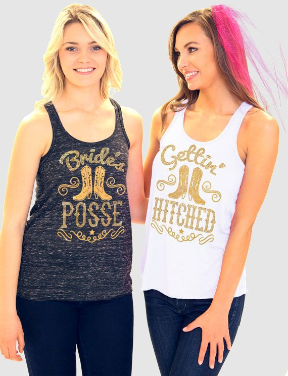 Country Western Bridal Party Tanks: Gettin' Hitched by ABridalShop
