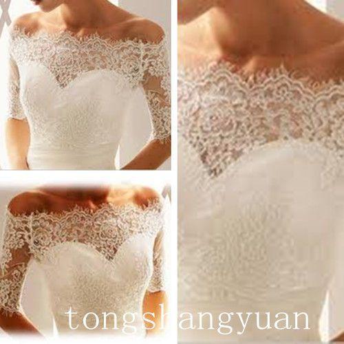 Sheer Off Shoulder Half Sleeve Lace Wedding Bolero Jacket Shawl 2015 Custom Made #Jacket