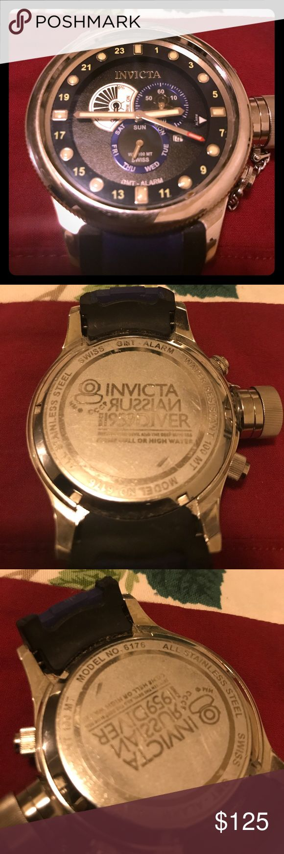 FIX Invicta 6176 Men's Russian Diver 1959 Watch! For sale is a fixer upper, rare Invicta Russian Diver 1959 Collection Quinotaur Black Watch Model no. 6176. What you see is what you get. The watch has broken bands and needs a new battery. There is minimal wear to the stainless steel case and no scratches on the face. Excellent chance to buy and own a rare Invicta watch with little needed to get working and wearable again. Invicta Accessories Watches