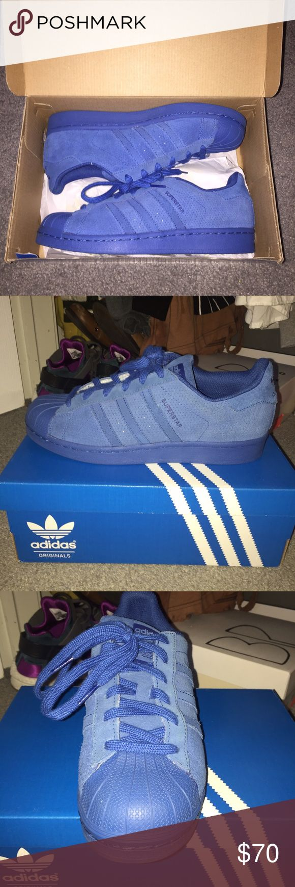 Blue Suede Superstars Fairly new!! Great condition & no creases Adidas Shoes Sneakers