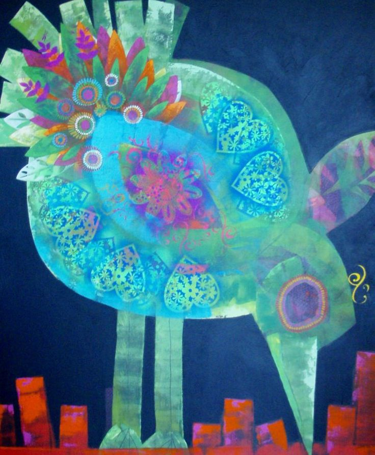 """""""Big Green Bird"""" by Cheryl Petersen www.tuskgallery.com.au"""