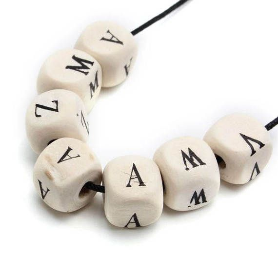 Wooden Letters Jewelry Craft 600 Charms Pendants by SuppliesDiy