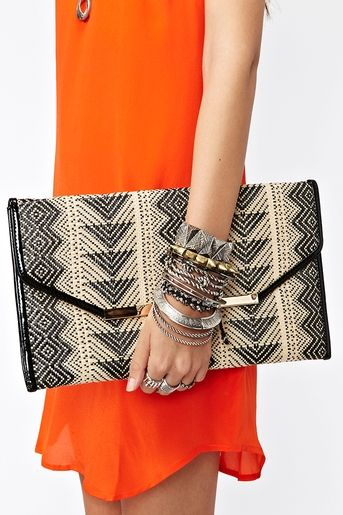 Woven Envelope Clutch bag & Stacked bangles & bracelets