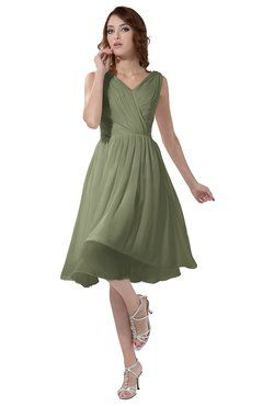 d8dffe0d895a ColsBM Alexis Moss Green Simple A-line V-neck Zipper Knee Length Ruching  Party Dresses