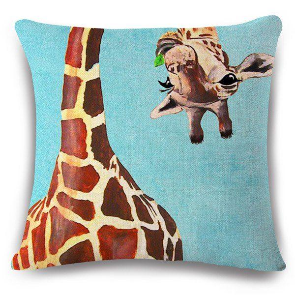 $5.16 Creative Flappy Giraffe Pattern Square Shape Flax Pillowcase (Without…