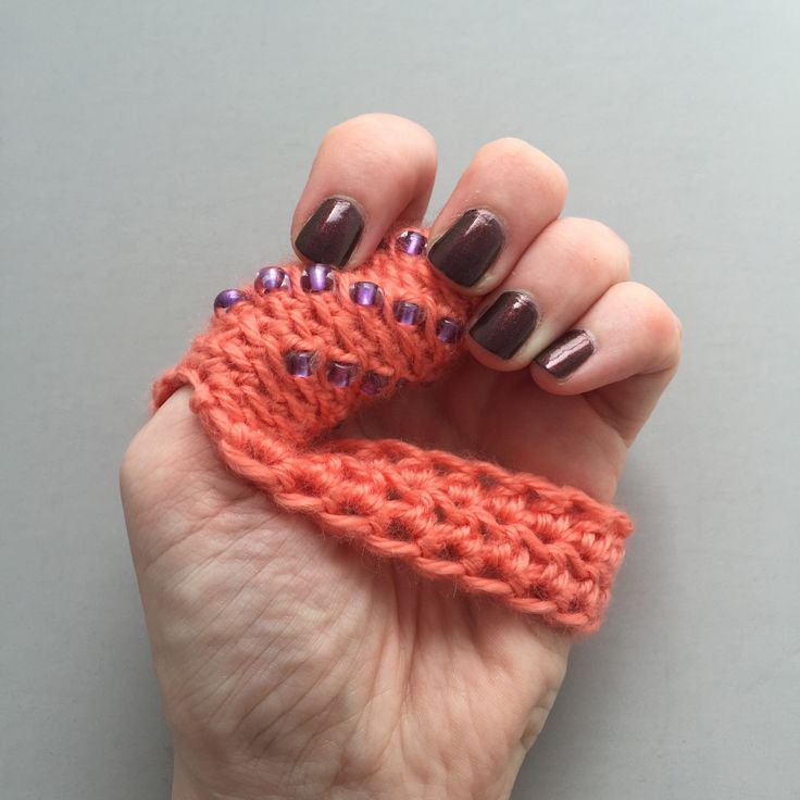 Dermatillomania Thumb Guard - Trichotillomania Help - Excoriation Disorder - Coral with Purple Beads - Long Term Bandage - Custom Sizes by ThumbSnuggler.com on Etsy