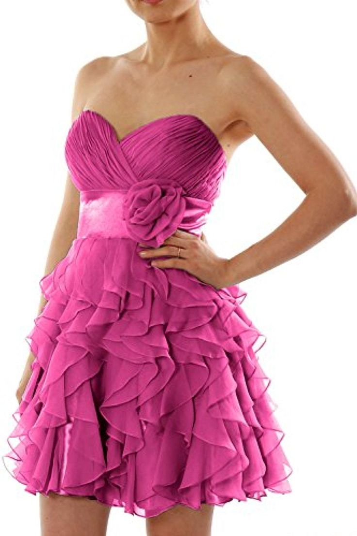 MACloth Women Strapless Chiffon Short Bridesmaid Dress Wedding Party Formal Gown (2, Fuchsia) - Brought to you by Avarsha.com