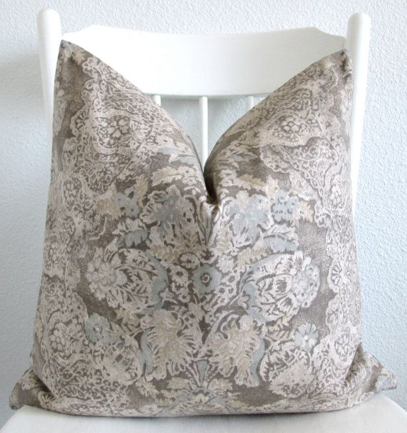 Lace Throw Pillows Covers : Decorative pillow cover - Throw pillow - 20x20 - Gray - Pale Blue - Beige - Floral - Lace ...