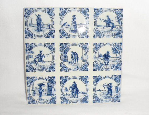 Vintage DELFT WALL TILES / Set of Two Wall Hanging by BYGONERA