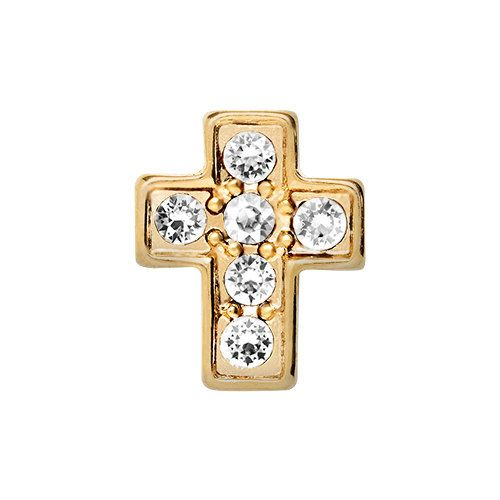 Gold cross with crystals floatingc charm by THECHARMEDCOMPANY