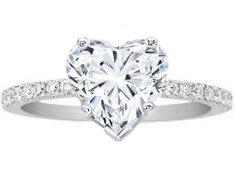 Heart Shape Diamond Petite Engagement Ring Pave Band in 14K White Gold
