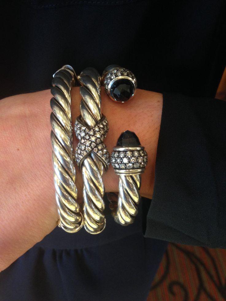 David Yurman Ring And Engagement Ring Worn Together