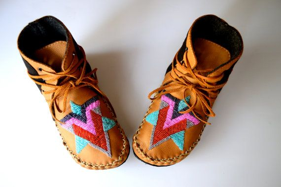 Children's handmade leather beaded wool-lined moccasin winter boots with wool felt insole and crepe rubber sole on Etsy, $155.25