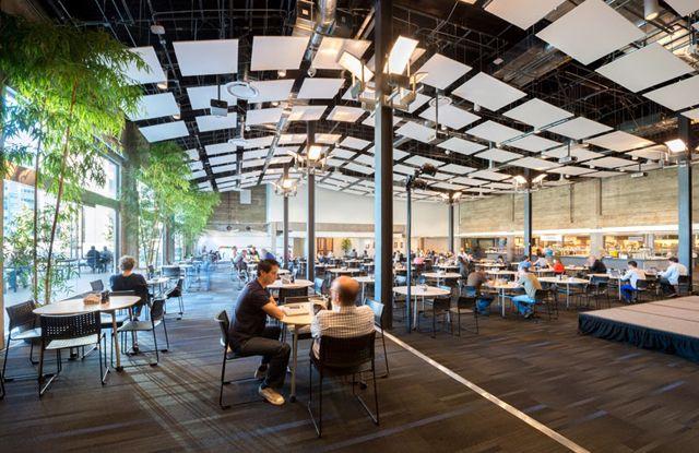 Ruang luas yang ada di kantor twitter berikut ini dilengkapi dengan cafetaria. Ruangan ini dapat digunakan untuk berinteraksi dan berdiskusi sesama karyawan. ditempat ini twitter menyediakan makanan sehat dan juga minuman untuk karyawannya dengan gratis.