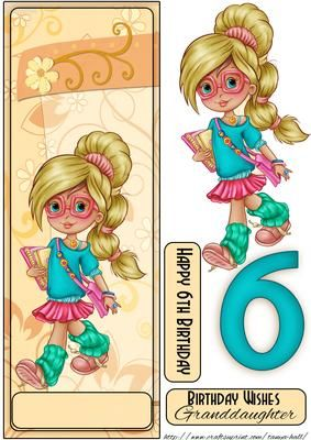 6th Birthday Cute Little Blonde Girl Large DL Quick Card