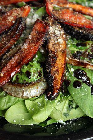 Marinated Portobello Mushroom Spinach Salad