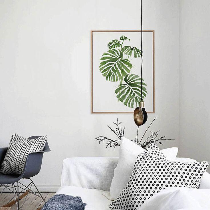 Diseño Original Acuarela Hoja Verde Natural Planta Tropical Casa Arte de la pared Impresiones de la Lona Foto Carteles Para El Sofá En Casa de Decoración