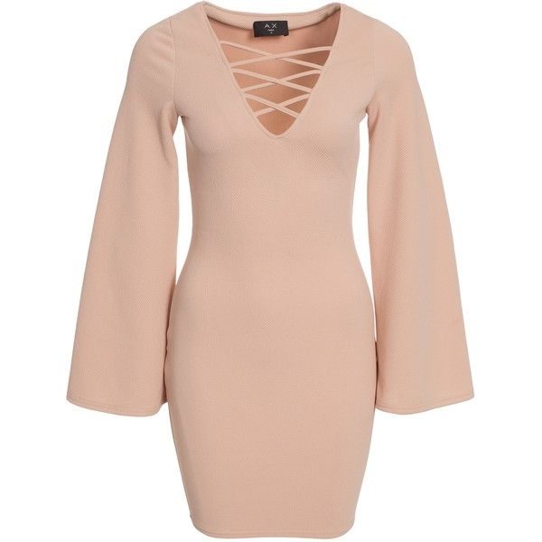 Ax Paris Bell Sleeve Tie Up Dress ($50) ❤ liked on Polyvore featuring dresses, camel, party dresses, womens-fashion, long sleeve embellished dress, lace up dress, embellished cocktail dress, form fitting dresses and pink v neck dress