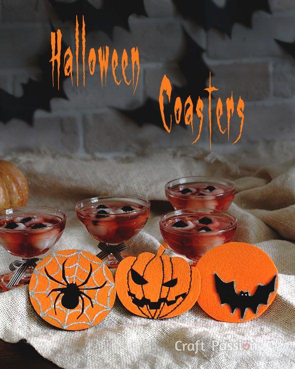 Make pumpkin, spider and bat coasters for your Halloween party. Bonus: make eye balls cocktails.