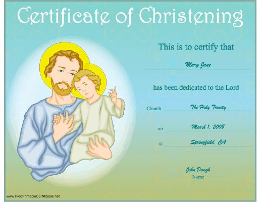 Best Baptism Images On   Printable Certificates