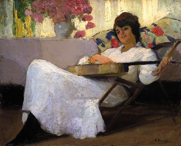 Amedeo Bocchi (1883 - 1976, Italian) Niccolina With a Guitar