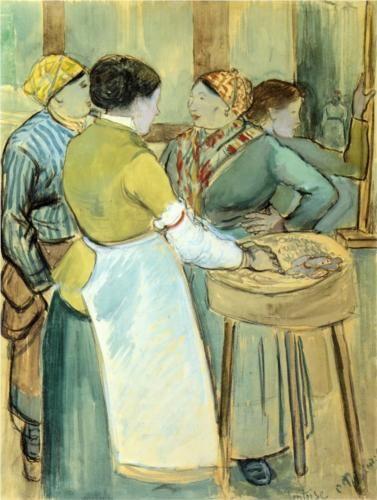 Market at Pontoise - Camille Pissarro