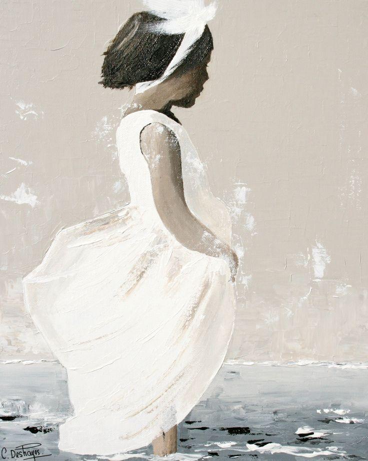 1000 id es sur le th me peintures en toile de plage sur - Peindre sur de la peinture ...
