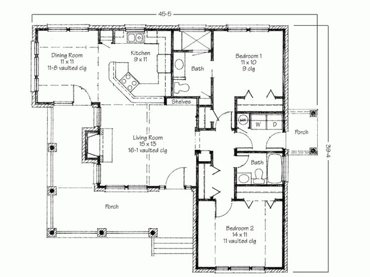 Simple Two Bedrooms House Plans for Small Home : Contemporary Two Bedroom House Plans With Porch And Backyard Deck