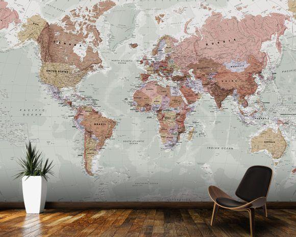 Executive Political World Map wallpaper mural room setting