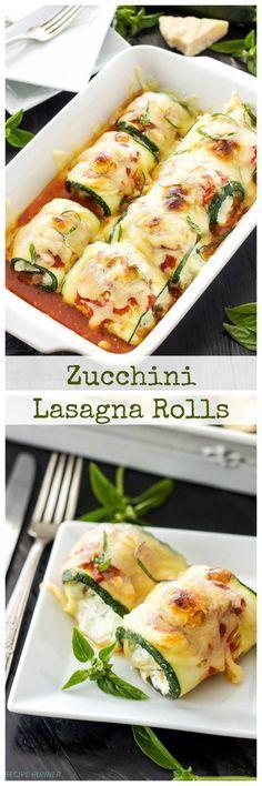 Zucchini Lasagna Rolls   Use zucchini instead of pasta in this healthy, gluten free lasagna recipe!