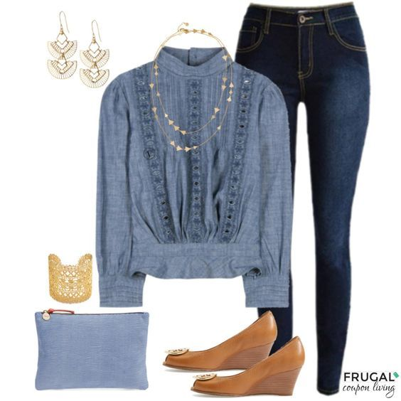 Frugal Fashion Friday Chambray Outfit. Incorporate jeans, gold hues, and more. We love this look, it makes the perfect spring outfit or fall outfit.
