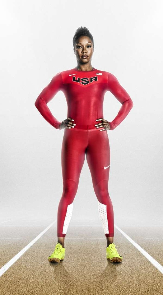 U.S. sprinter Carmelita Jeter, outfitted in the new Nike uniform for the Olympics