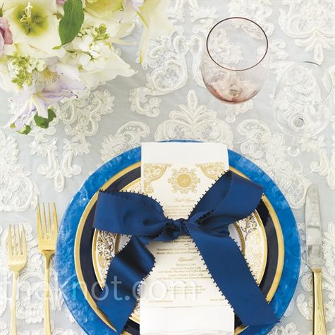 The Inspiration: Oscar de la Renta   The Event Designer: Marcy Blum  Each place setting gets a large ribbon bow mimicking the dress's statement accent.: Ribbons Bows, Wedding Plans, Tables Sets, Place Settings, Wedding Photo, Colors Schemes, White Lace, Places Sets, Blue Wedding